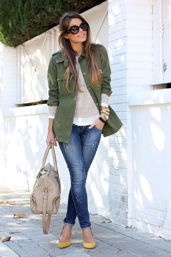 Look casual chic army